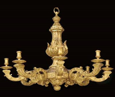 A French giltwood eight light