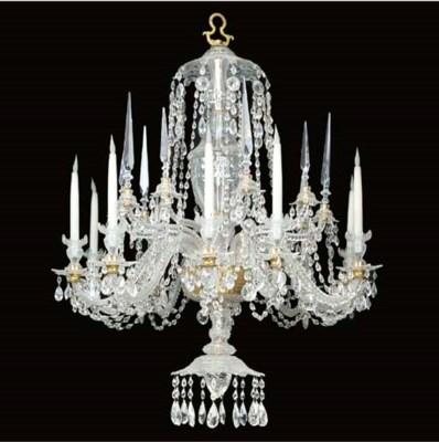 A cut glass ten light chandeli