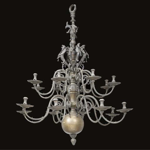 A large Dutch brass sixteen light chandelier, second half 19th century