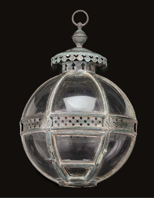 A glazed brass spherical lante