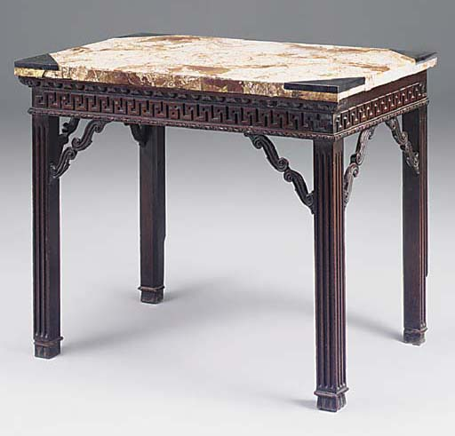 AN EARLY GEORGE III MAHOGANY MARBLE TOP SIDE TABLE