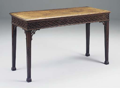 A MAHOGANY BLIND FRET SERVING TABLE, GEORGIAN AND LATER