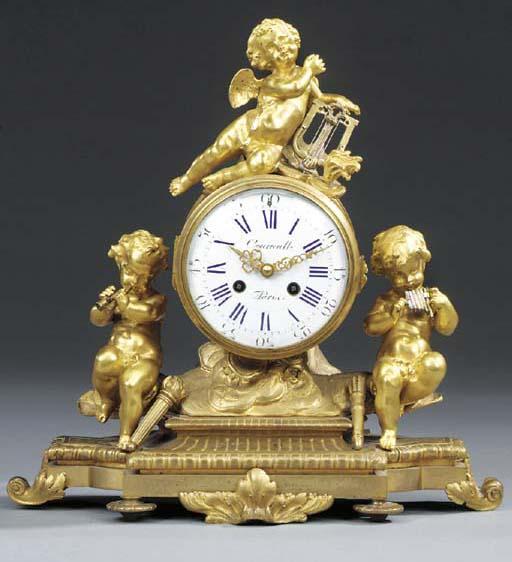 A French gilt bronze striking mantel clock, second half 19th century