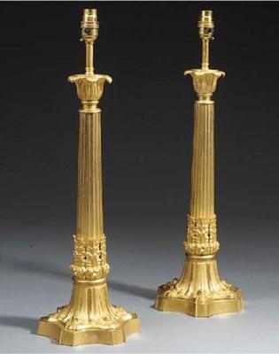 A pair of Victorian gilt metal