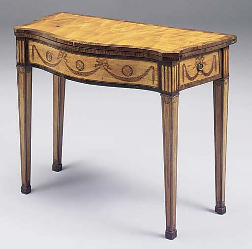 A SATINWOOD, ROSEWOOD CROSSBANDED MARQUETRY SERPENTINE CARD TABLE, LATE 18TH/EARLY 19TH CENTURY