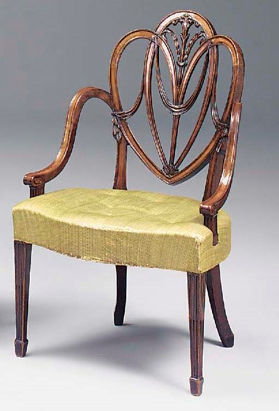 A CARVED MAHOGANY ARMCHAIR, GE