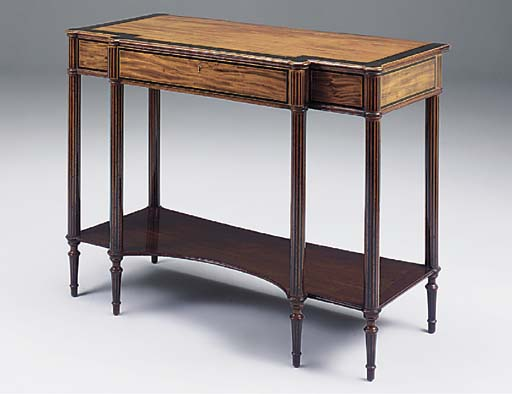 A MAHOGANY EBONISED BREAKFRONT SERVING TABLE, 19TH CENTURY IN THE SHERATON REVIVAL STYLE