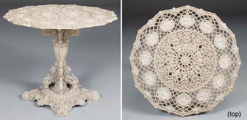 A 'Zodiac' cast iron table, pr
