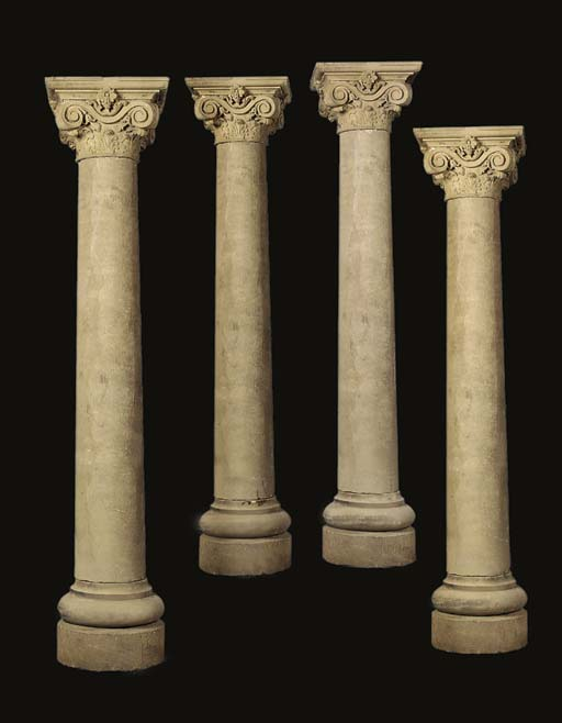 A set of five Northern European carved sandstone portico columns, probably second half 19th century