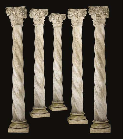 A set of eight Vicenza stone architectural columns, late 20th century