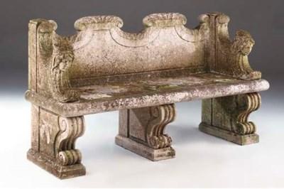 A limestone garden seat, late
