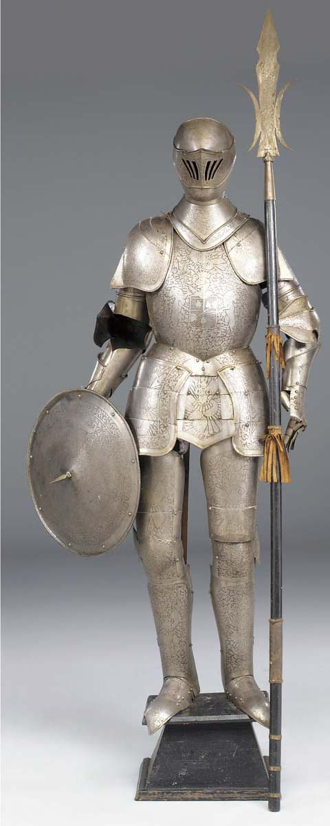 An etched steel suit of armour