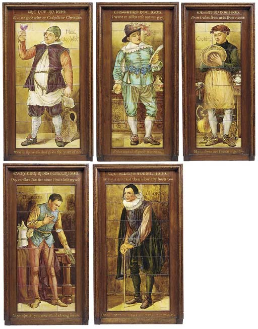 A group of five English glazed