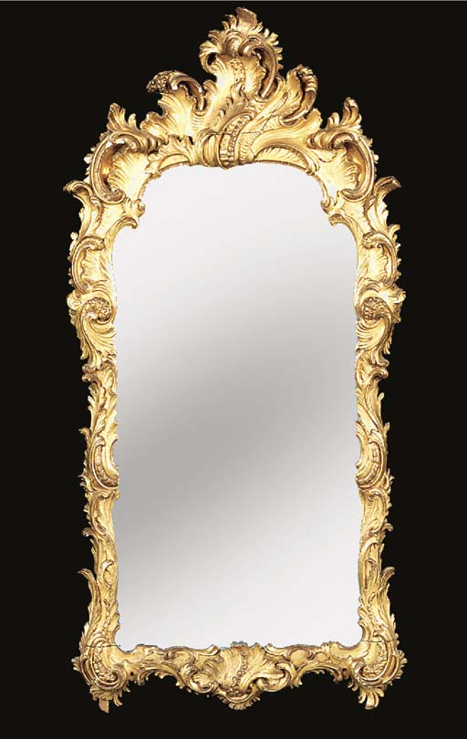 A GERMAN GILTWOOD MIRROR, LATE