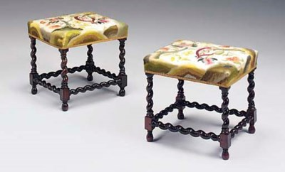 A PAIR OF DUTCH ROSEWOOD STOOL