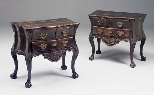 A PAIR OF PORTUGUESE CARVED RO