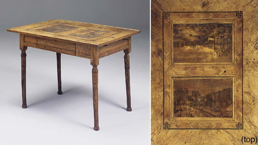 A FRENCH PROVINCIAL WALNUT INLAID AND PENWORK DECORATED CENTRE TABLE, LATE 18TH/EARLY 19TH CENTURY