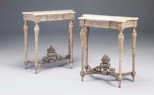 A PAIR OF FRENCH PAINTED MARBL