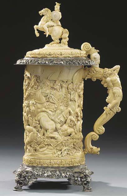 A German carved ivory tankard,