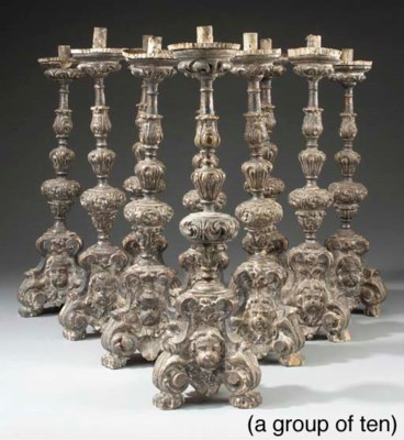 A group of ten Italian carved