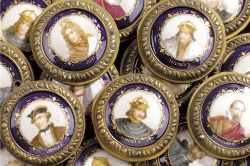 A group of sixteen Continental porcelain medallions, 19th century