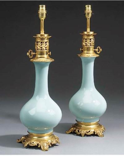 A pair of celadon glazed porce
