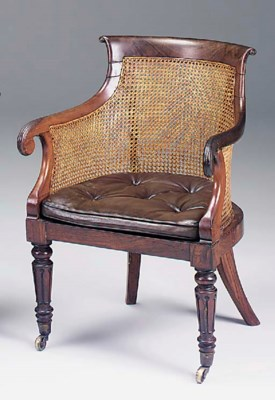 A ROSEWOOD LIBRARY BERGERE, EA