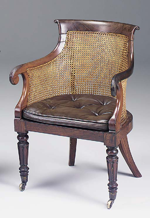 A ROSEWOOD LIBRARY BERGERE, EARLY 19TH CENTURY