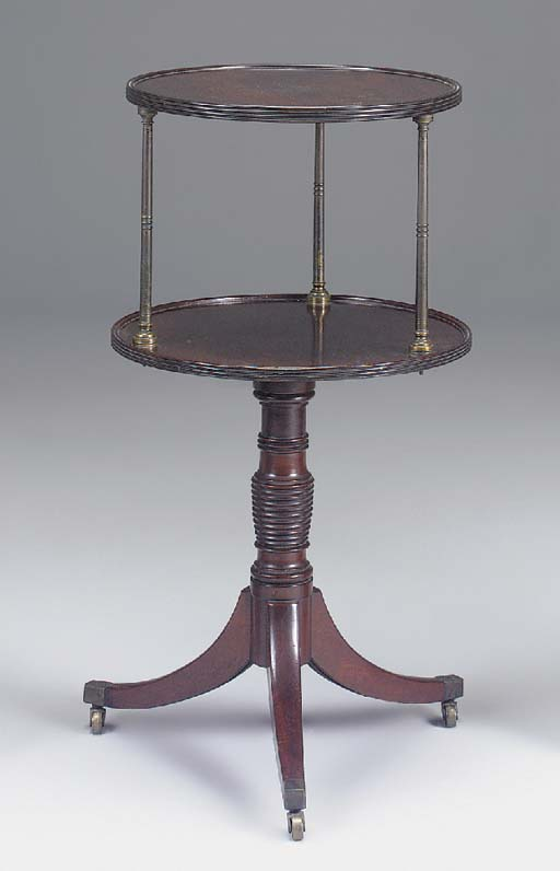 A GEORGE III MAHOGANY AND BRASS MOUNTED TWO TIER DUMB WAITER