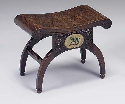 A REGENCY OAK AND DECORATED ST