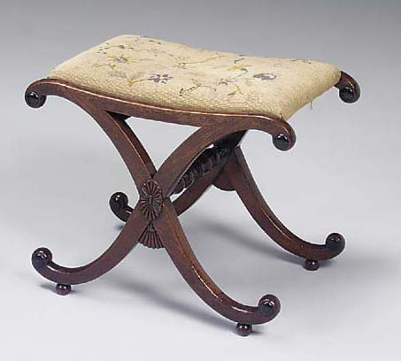 A REGENCY POSSIBLY ROSEWOOD AND EBONISED X-FRAME STOOL