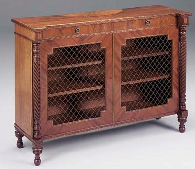 A MAHOGANY AND INLAID SIDE CAB