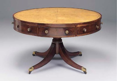 A MAHOGANY AND INLAID DRUM TOP