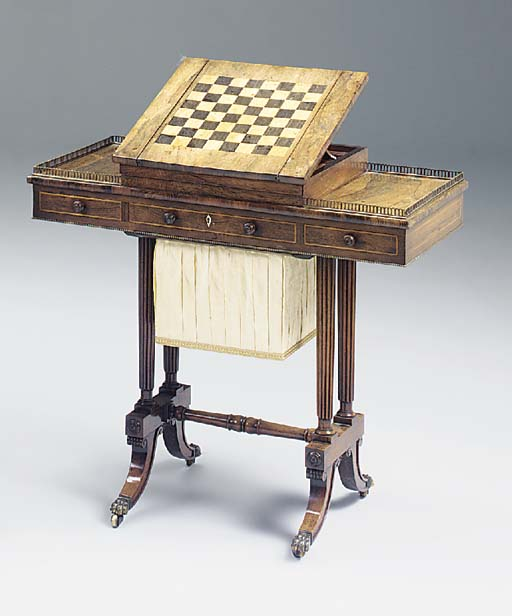 A REGENCY ORMOLU MOUNTED GAMES AND WORK TABLE