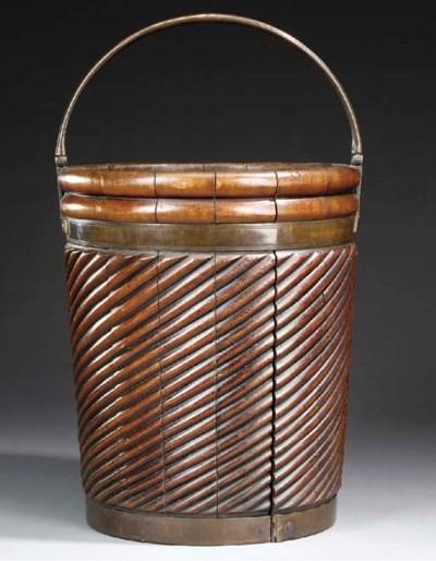 An English mahogany peat bucke