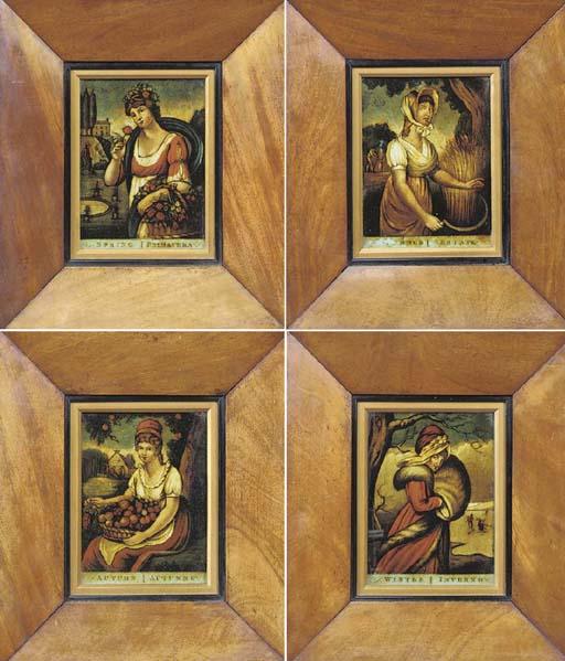 A set of four English mezzotin