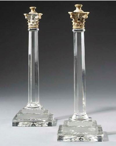 A pair of cut glass column tab