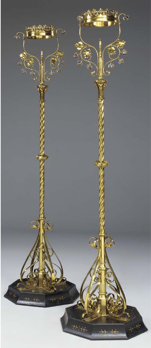 A pair of brass pier lamps, ci