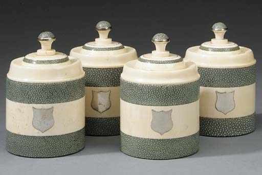 A set of four ivory and shagre