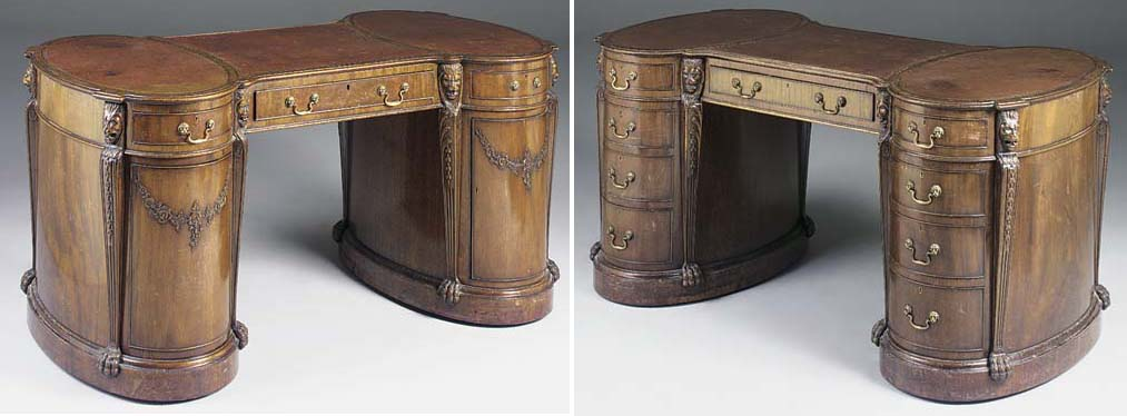 A MAHOGANY PARTNERS PEDESTAL DESK OF SHAPED OUTLINE, LATE 19TH/EARLY 20TH CENTURY