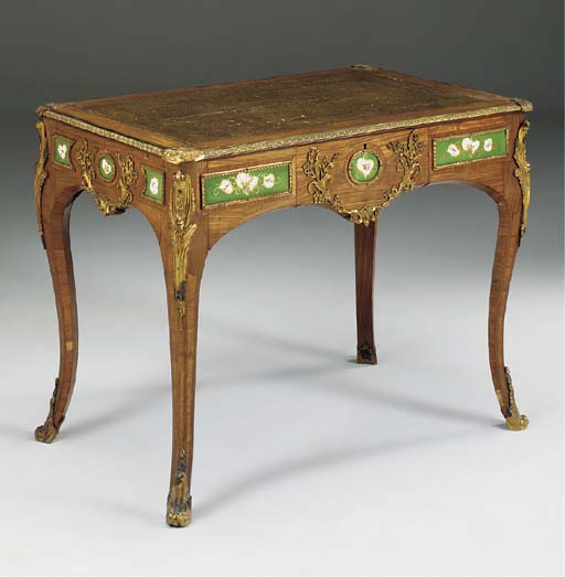 A KINGWOOD ORMOLU AND PORCELAIN MOUNTED MARQUETRY BUREAU PLAT, 19TH CENTURY, IN THE LOUIS XV STYLE