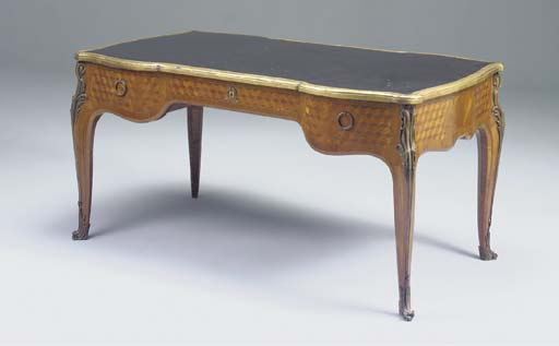 A FRENCH KINGWOOD PARQUETRY ORMOLU-MOUNTED BUREAU PLAT, 19TH CENTURY, IN THE LOUIS XV STYLE