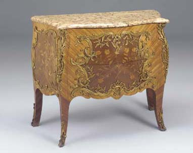 A FRENCH TULIPWOOD MARQUETRY O