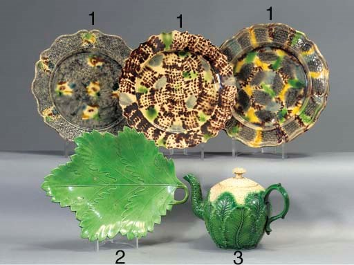 Three creamware plates