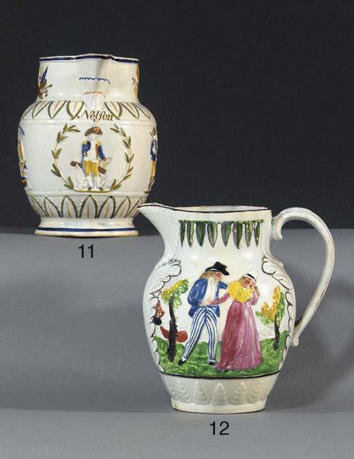 A pearlware oviform jug