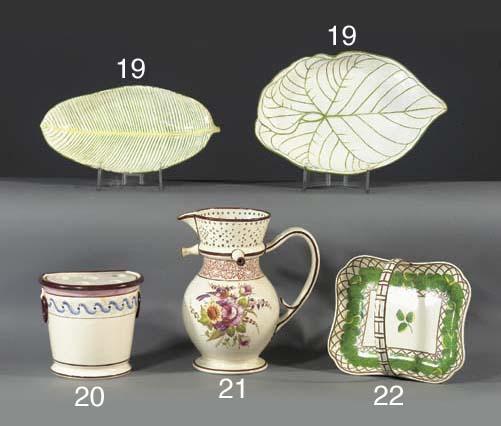 Two Wedgwood pearlware leaf-sh