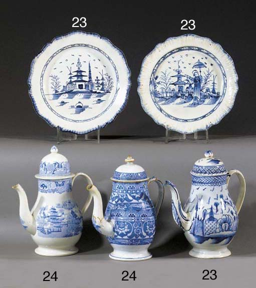A pearlware blue and white cof