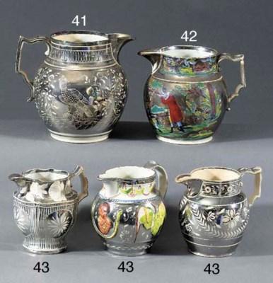 Three silver-resist-lustre jug