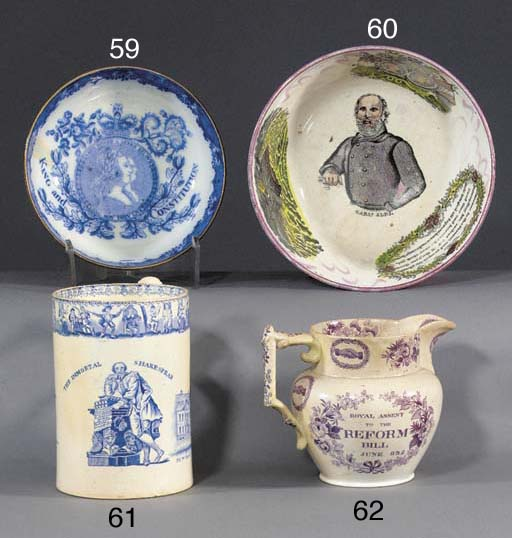 A pottery blue and white cylin