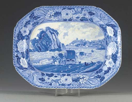 A blue and white pottery octag